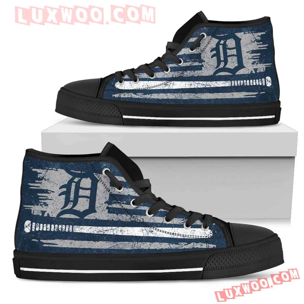 American Flag Vintage Baseball Detroit Tigers High Top Shoes