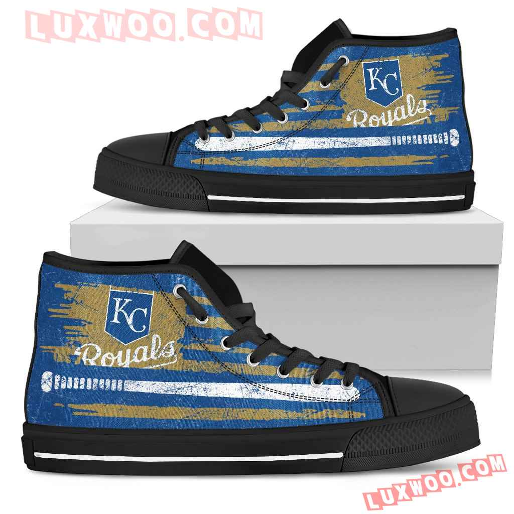 American Flag Vintage Baseball Kansas City Royals High Top Shoes