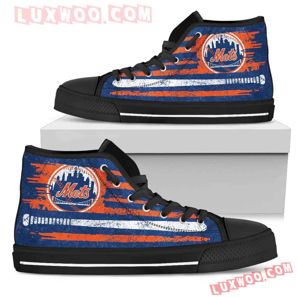 American Flag Vintage Baseball New York Mets High Top Shoes