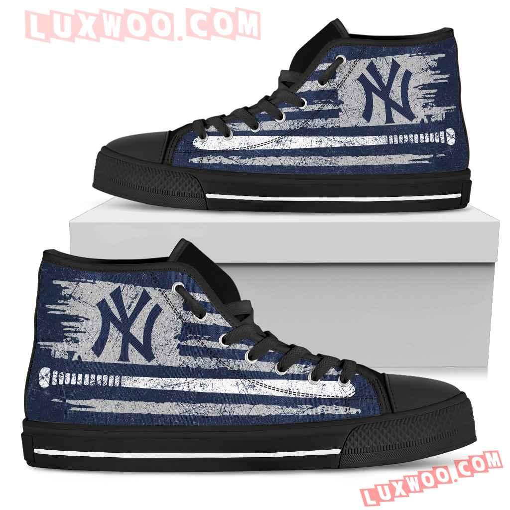 American Flag Vintage Baseball New York Yankees High Top Shoes