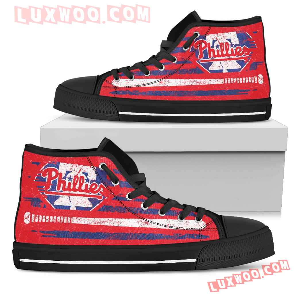 American Flag Vintage Baseball Philadelphia Phillies High Top Shoes