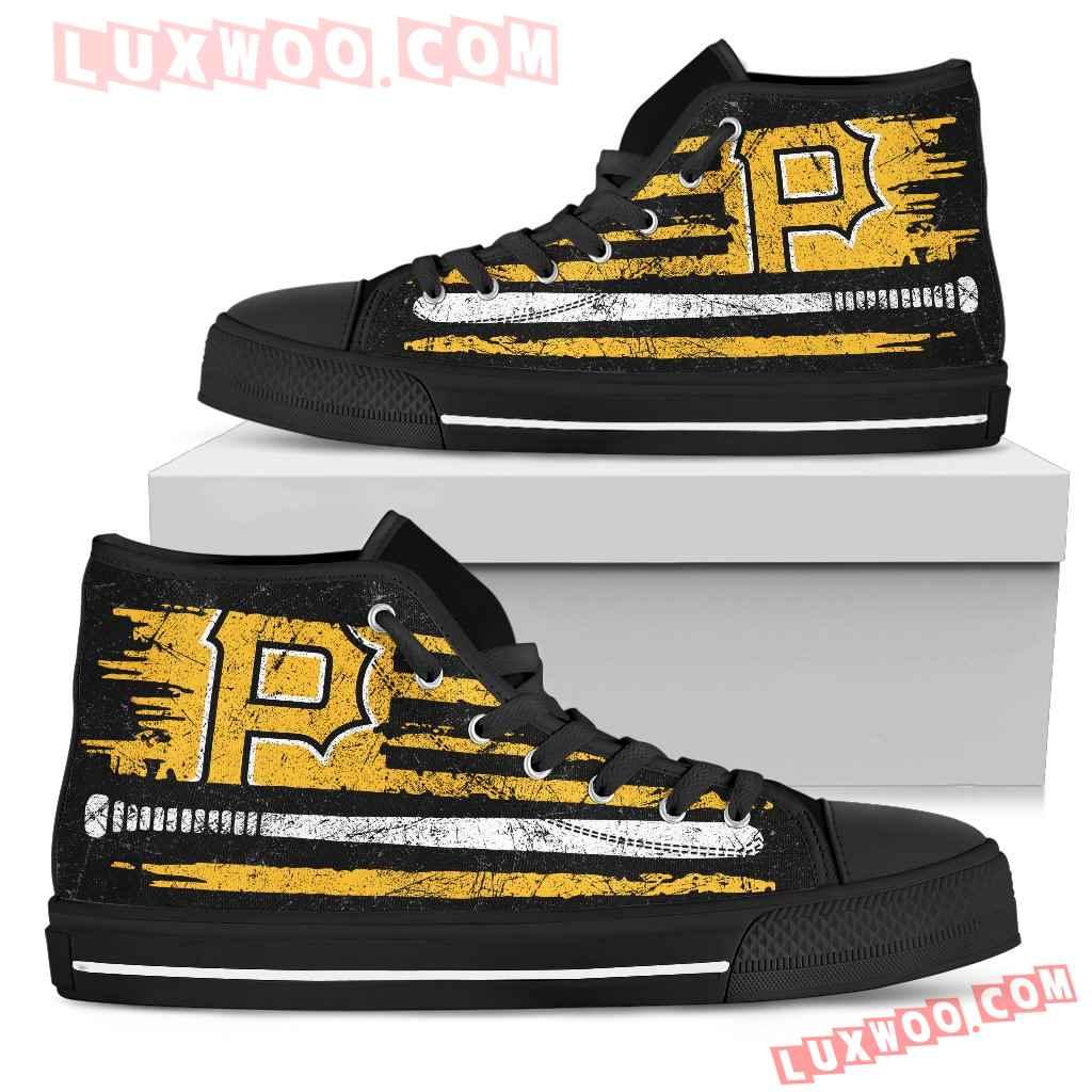 American Flag Vintage Baseball Pittsburgh Pirates High Top Shoes