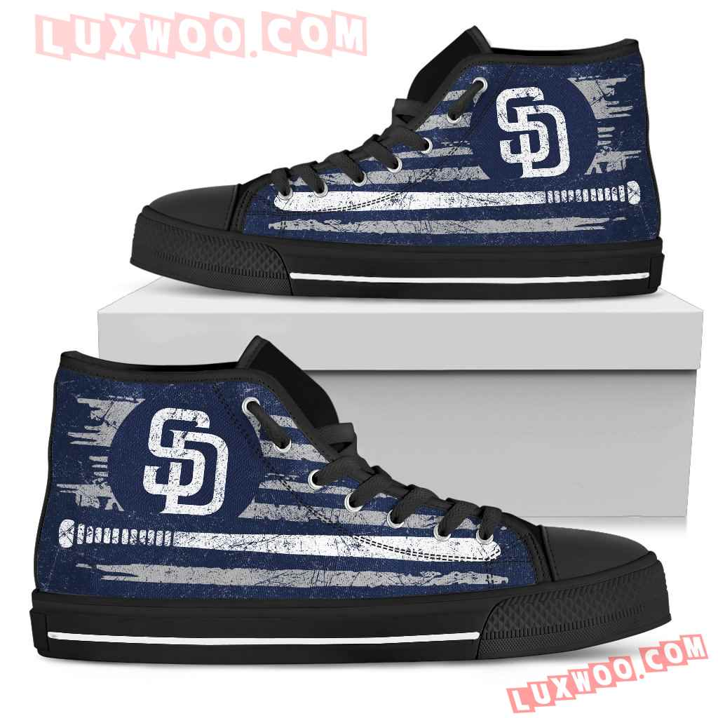 American Flag Vintage Baseball San Diego Padres High Top Shoes