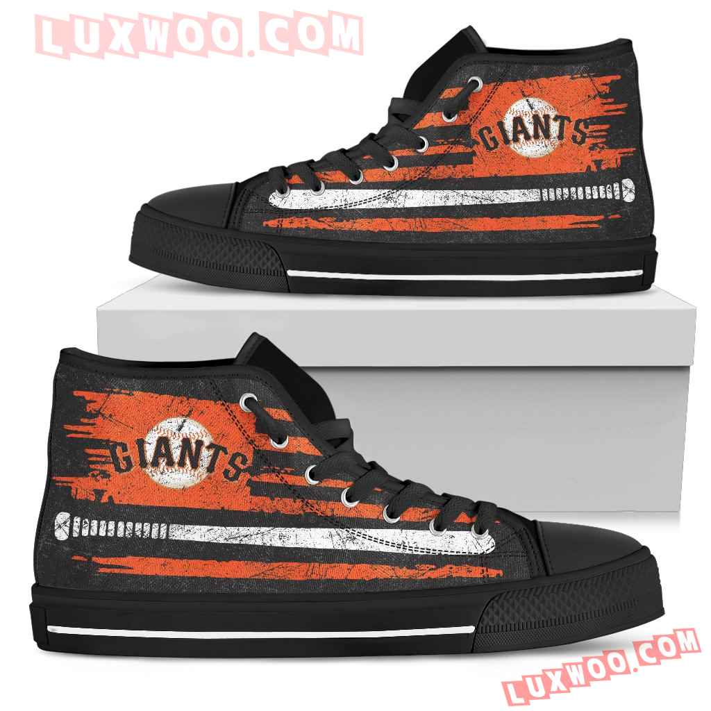 American Flag Vintage Baseball San Francisco Giants High Top Shoes