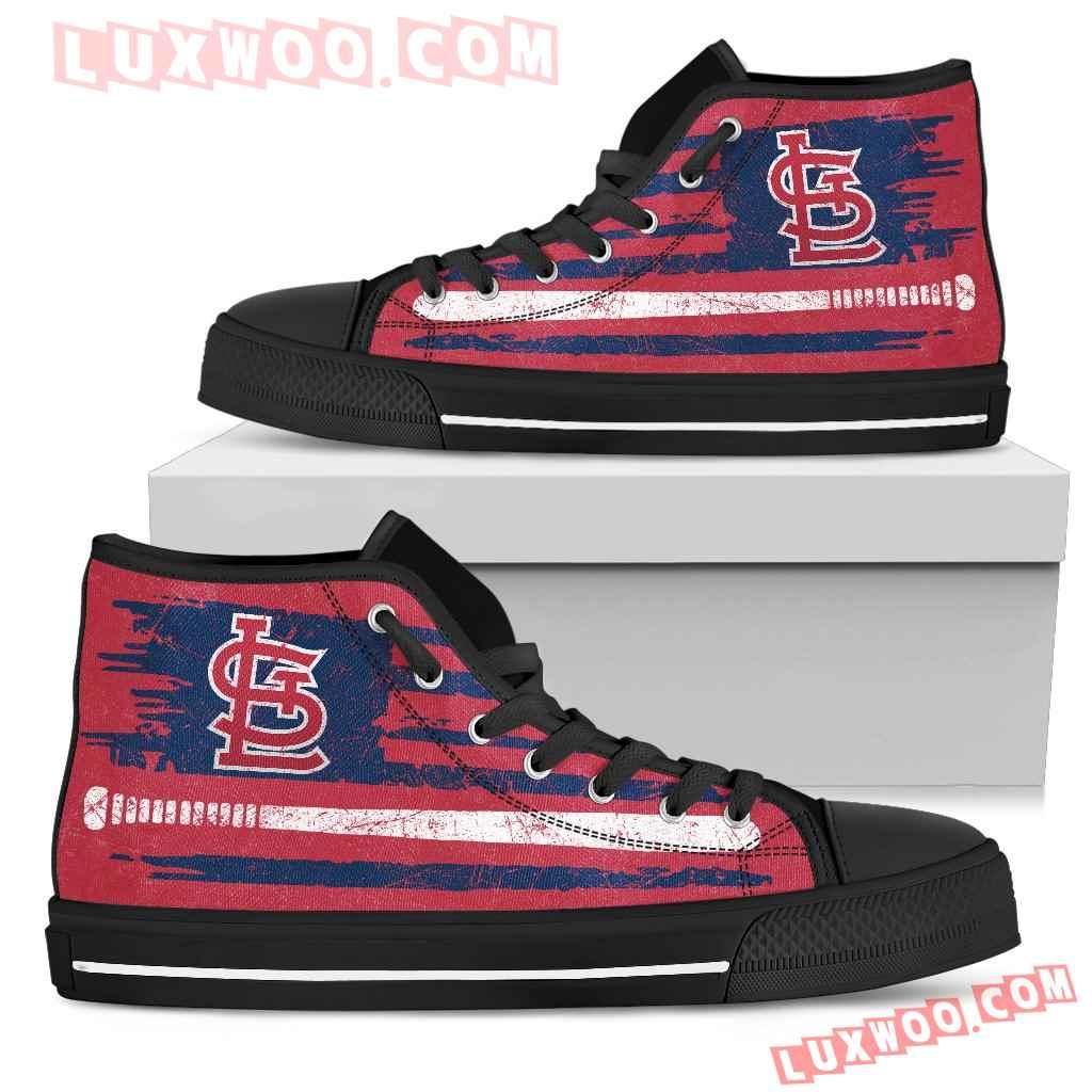 American Flag Vintage Baseball St Louis Cardinals High Top Shoes