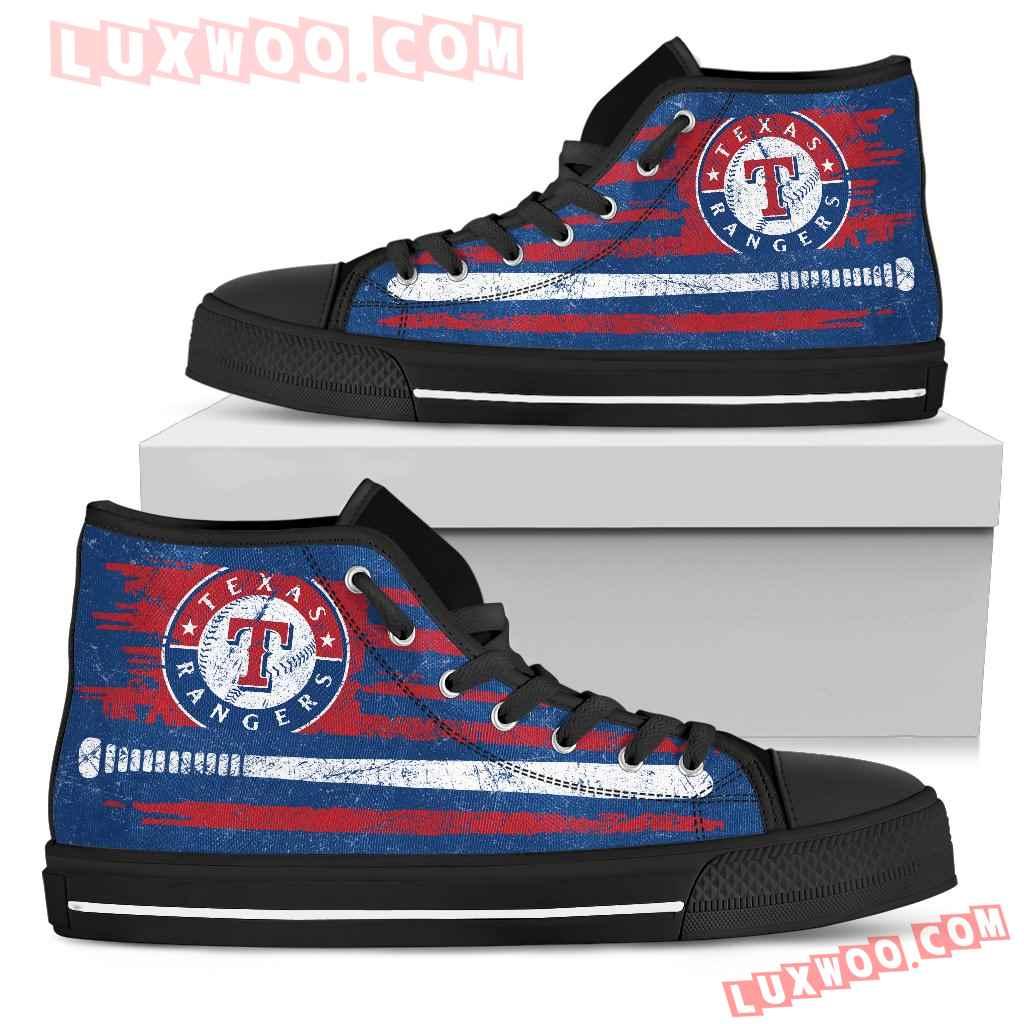 American Flag Vintage Baseball Texas Rangers High Top Shoes