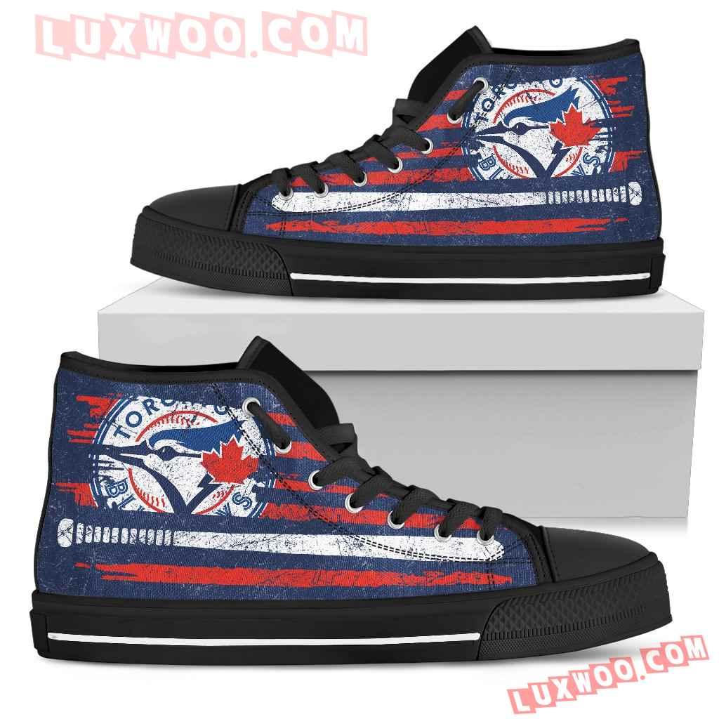 American Flag Vintage Baseball Toronto Blue Jays High Top Shoes