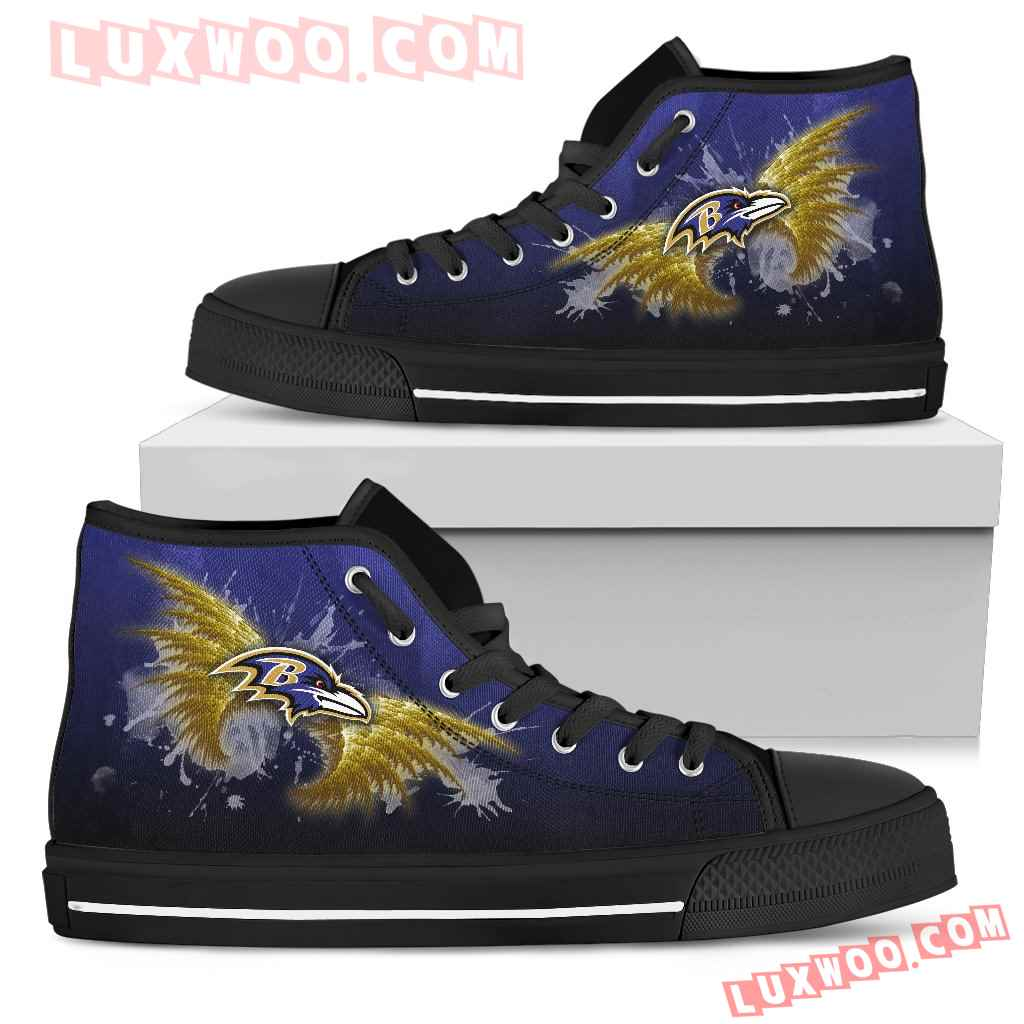 Angel Wings Baltimore Ravens High Top Shoes