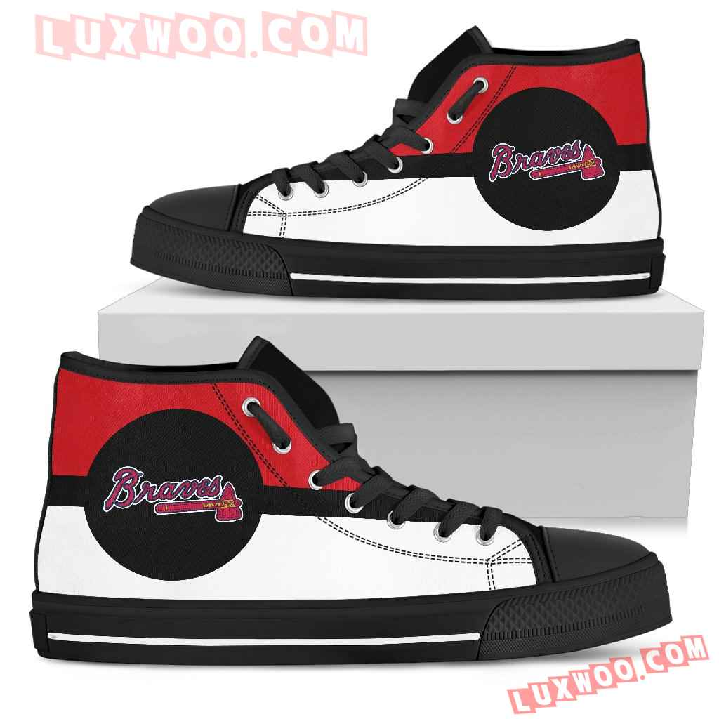 Bright Colours Open Sections Great Logo Atlanta Braves High Top Shoes