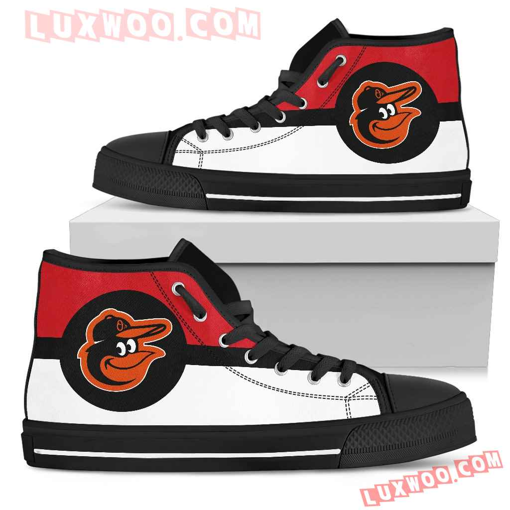 Bright Colours Open Sections Great Logo Baltimore Orioles High Top Shoes