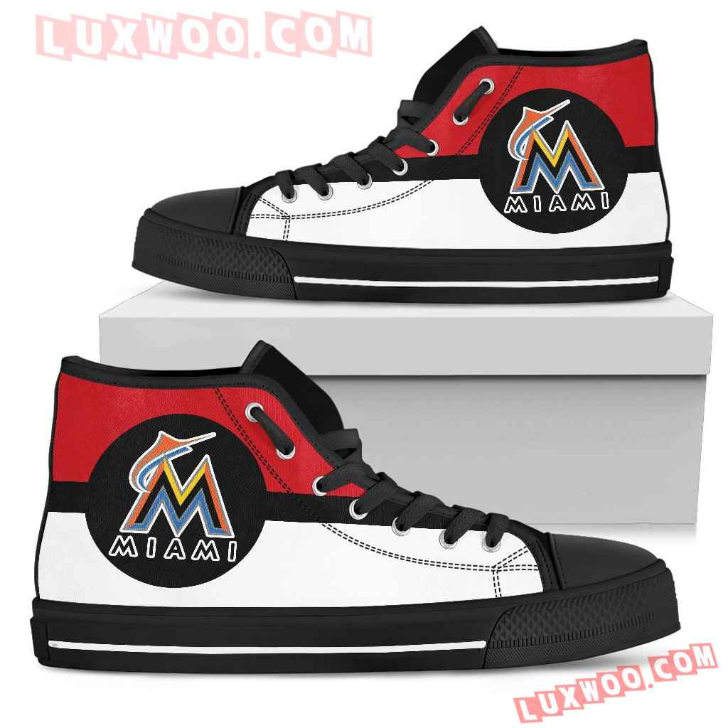 Bright Colours Open Sections Great Logo Miami Marlins High Top Shoes