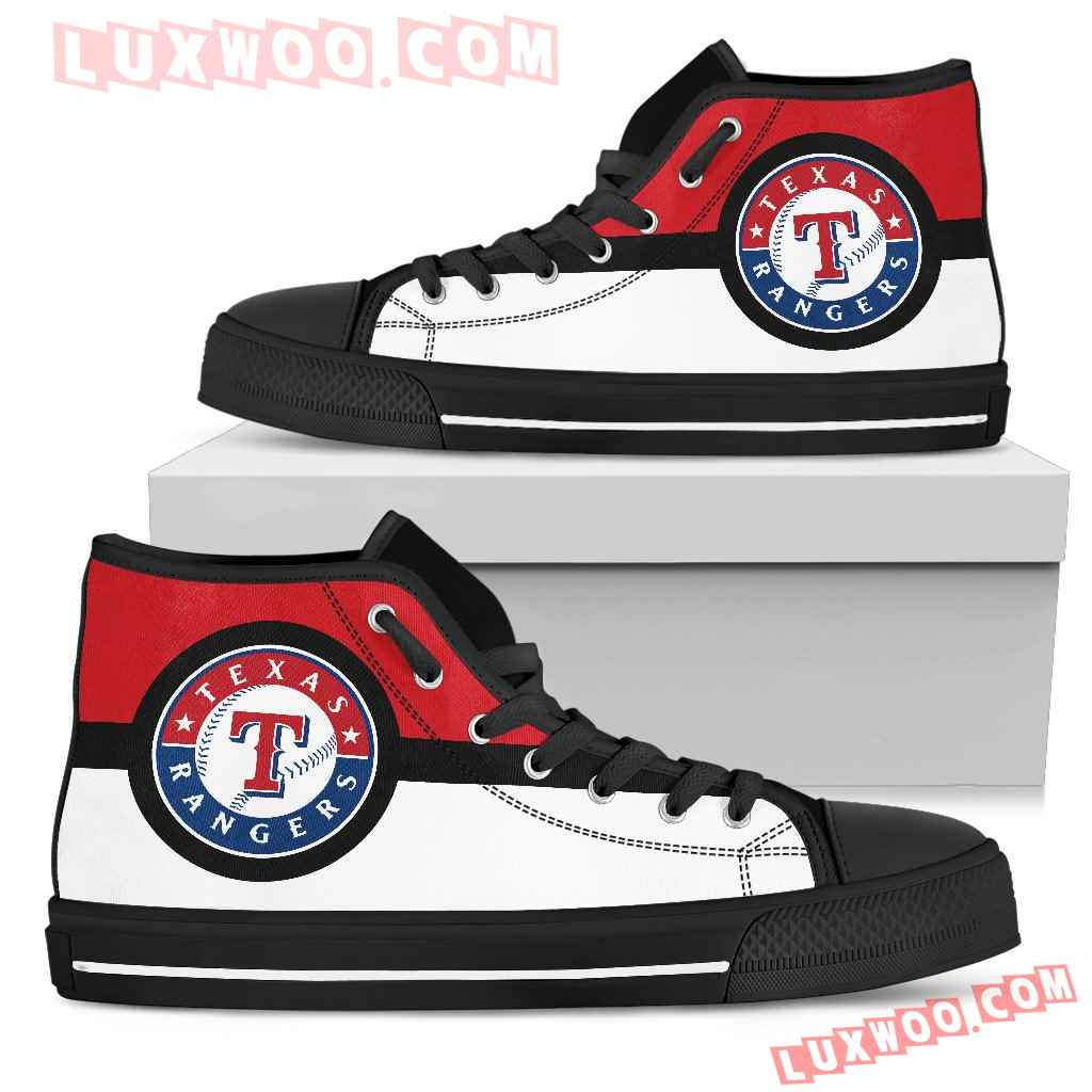 Bright Colours Open Sections Great Logo Texas Rangers High Top Shoes