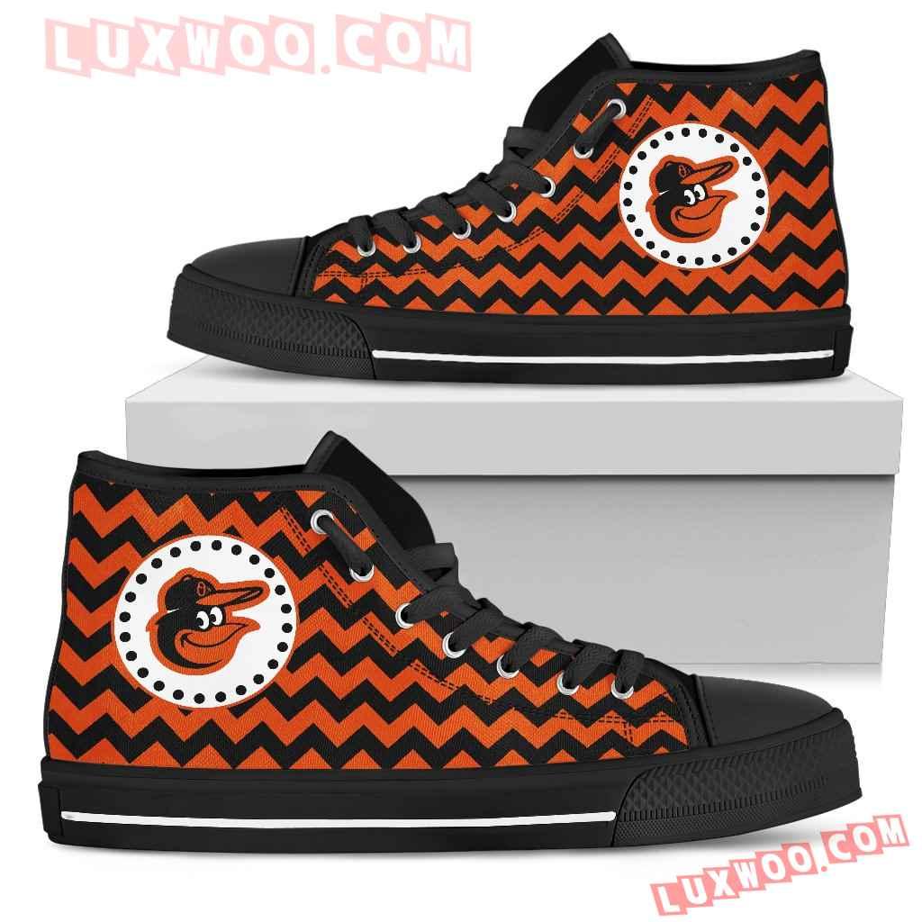 Chevron Broncos Baltimore Orioles High Top Shoes