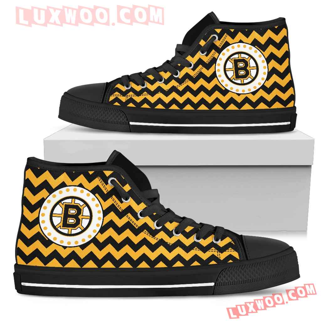 Chevron Broncos Boston Bruins High Top Shoes