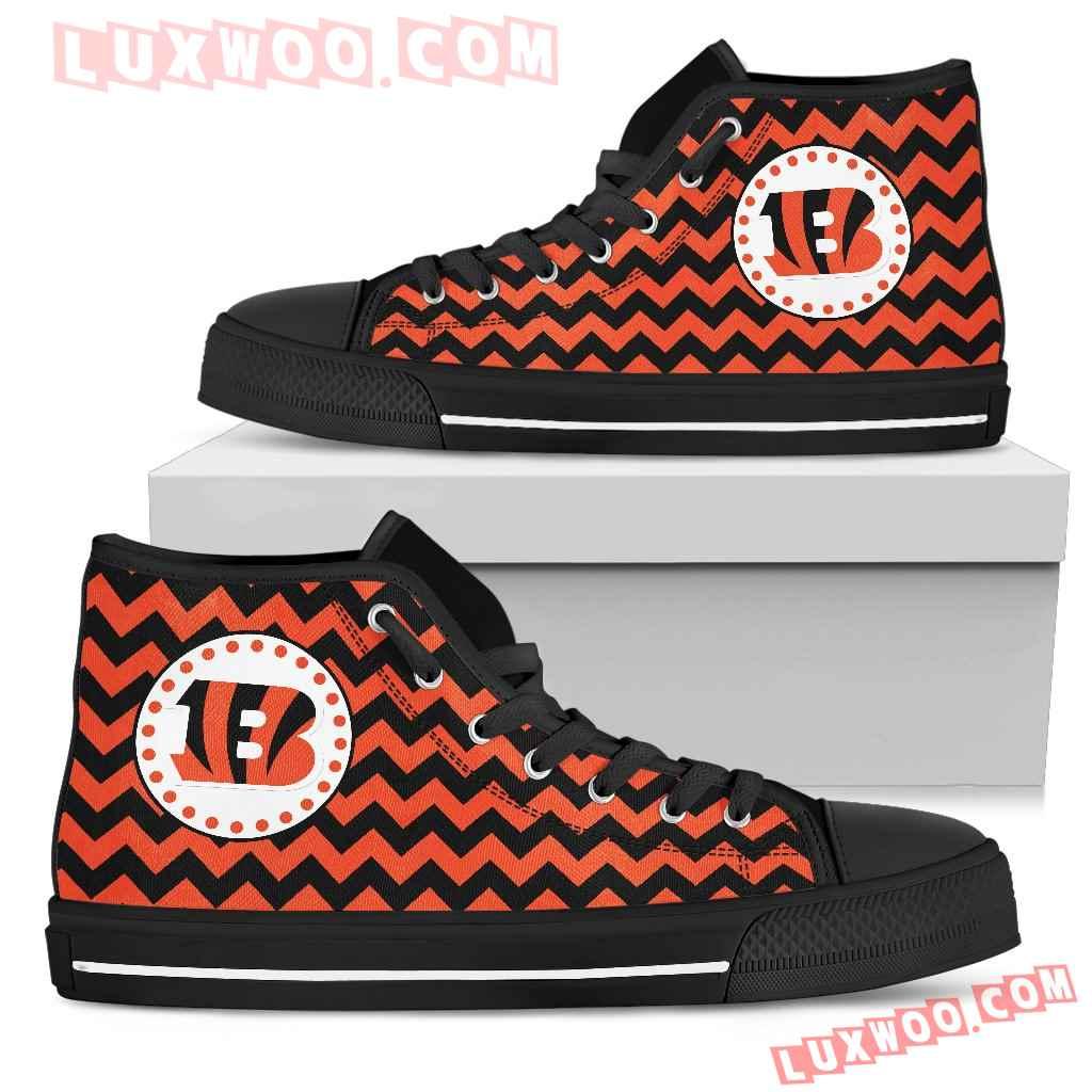Chevron Broncos Cincinnati Bengals High Top Shoes