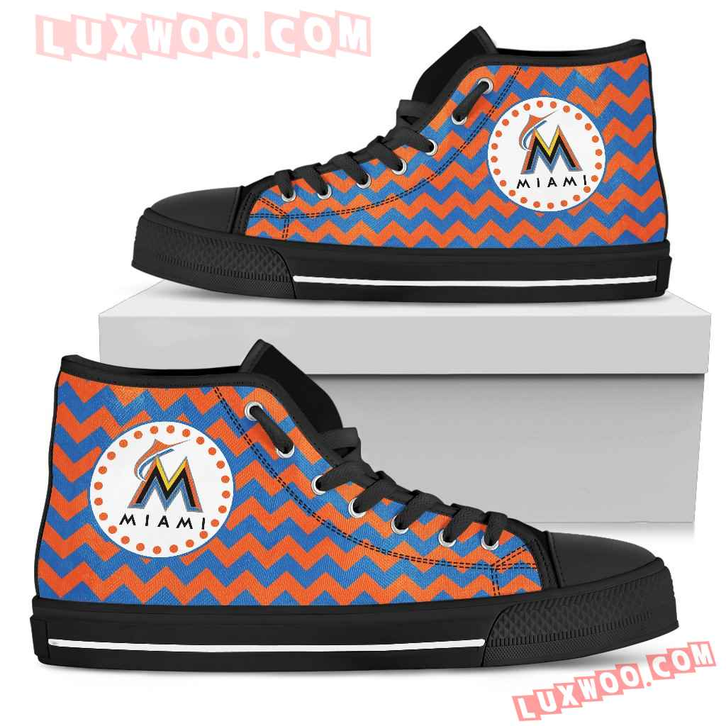 Chevron Broncos Miami Marlins High Top Shoes