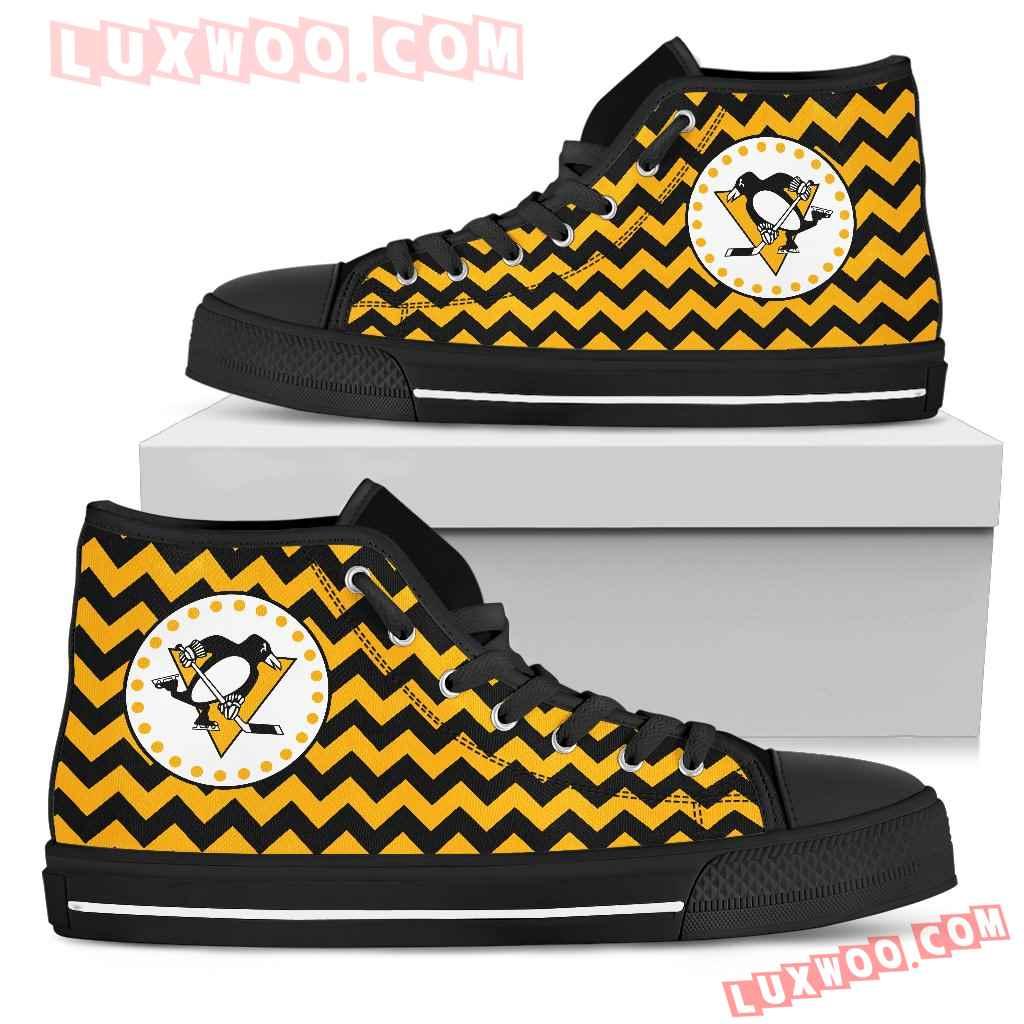 Chevron Broncos Pittsburgh Penguins High Top Shoes