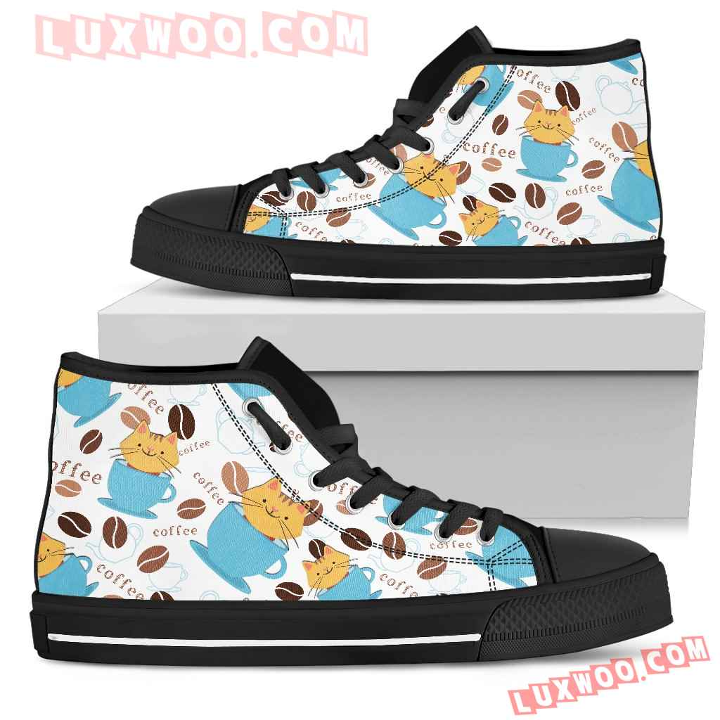 Coffee Cat Fabric Pattern High Top Shoes