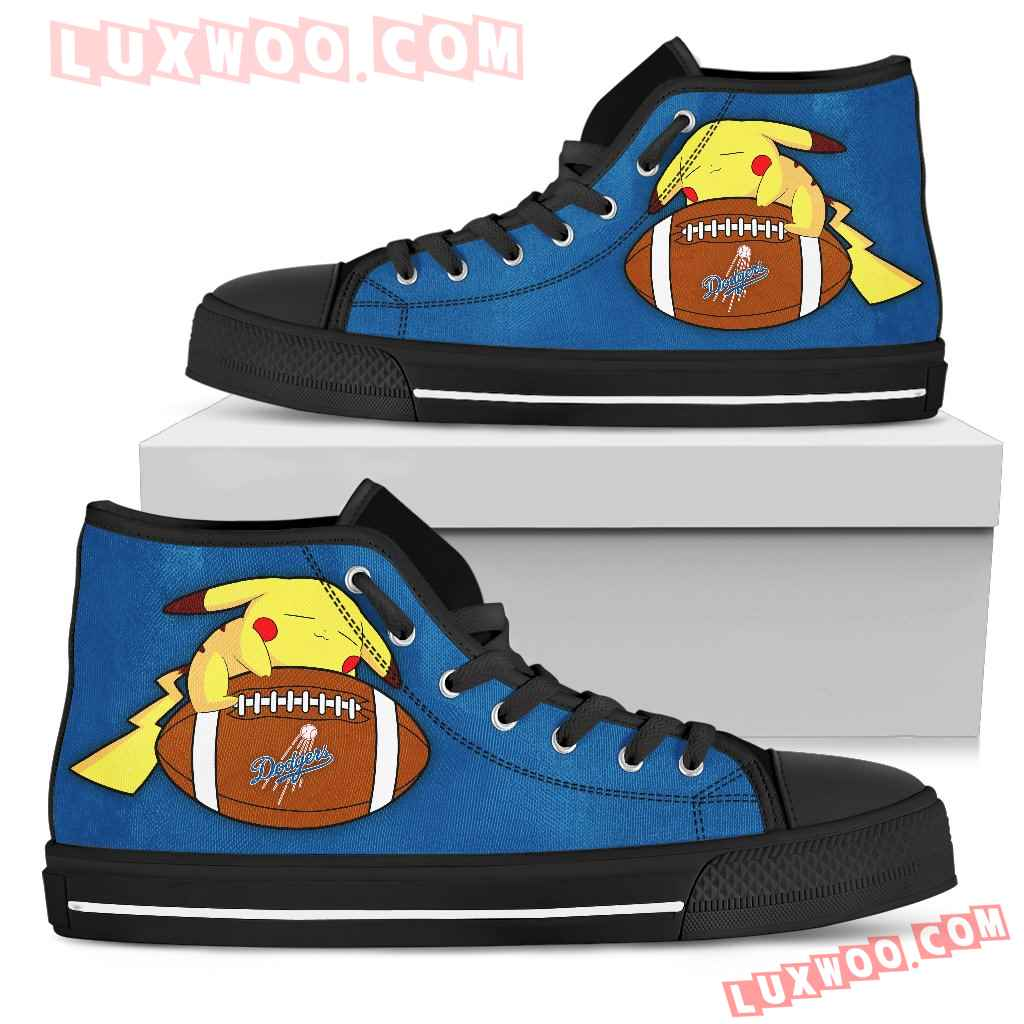 Colorful Pikachu Laying On Ball Los Angeles Dodgers High Top Shoes