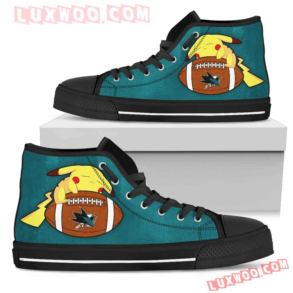 Colorful Pikachu Laying On Ball San Jose Sharks High Top Shoes
