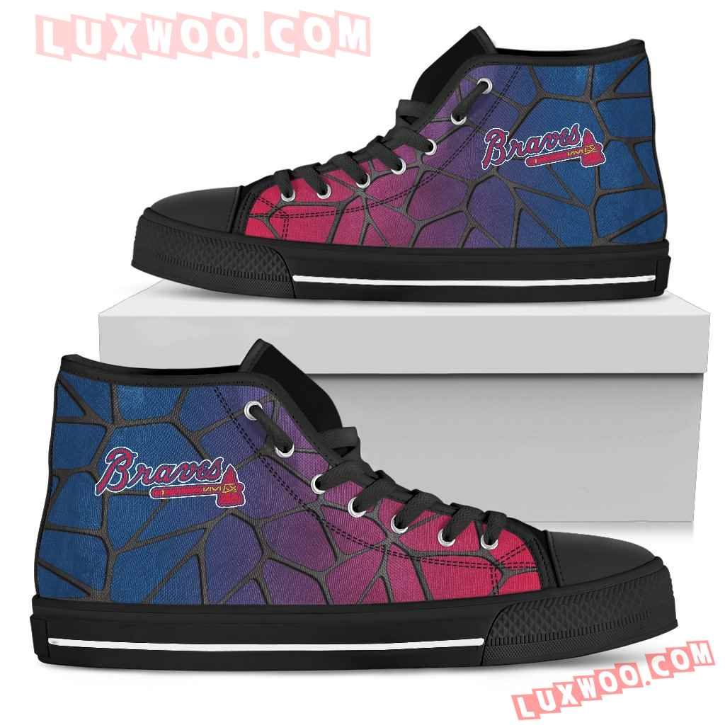 Colors Air Cushion Atlanta Braves Gradient High Top Shoes