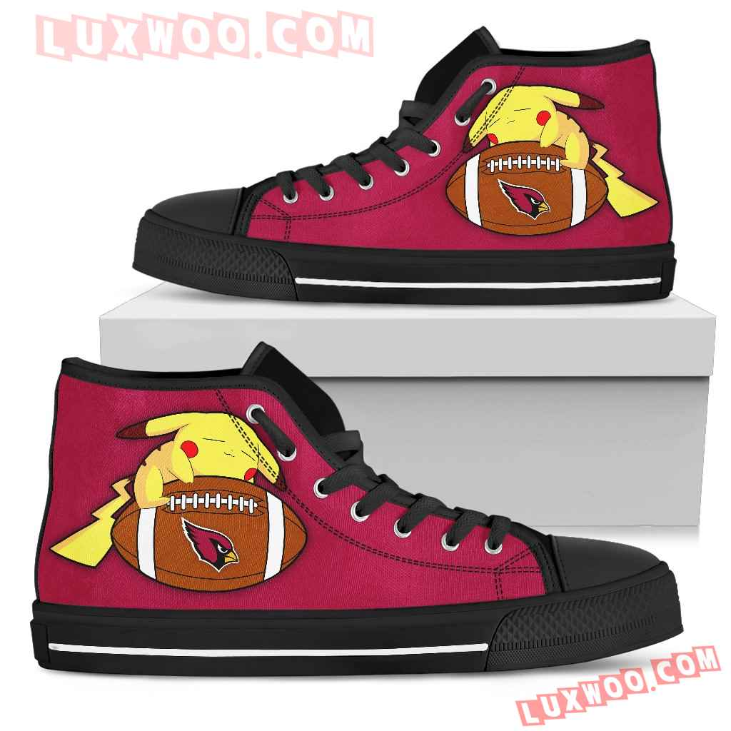 Cool Pikachu Laying On Ball Arizona Cardinals High Top Shoes