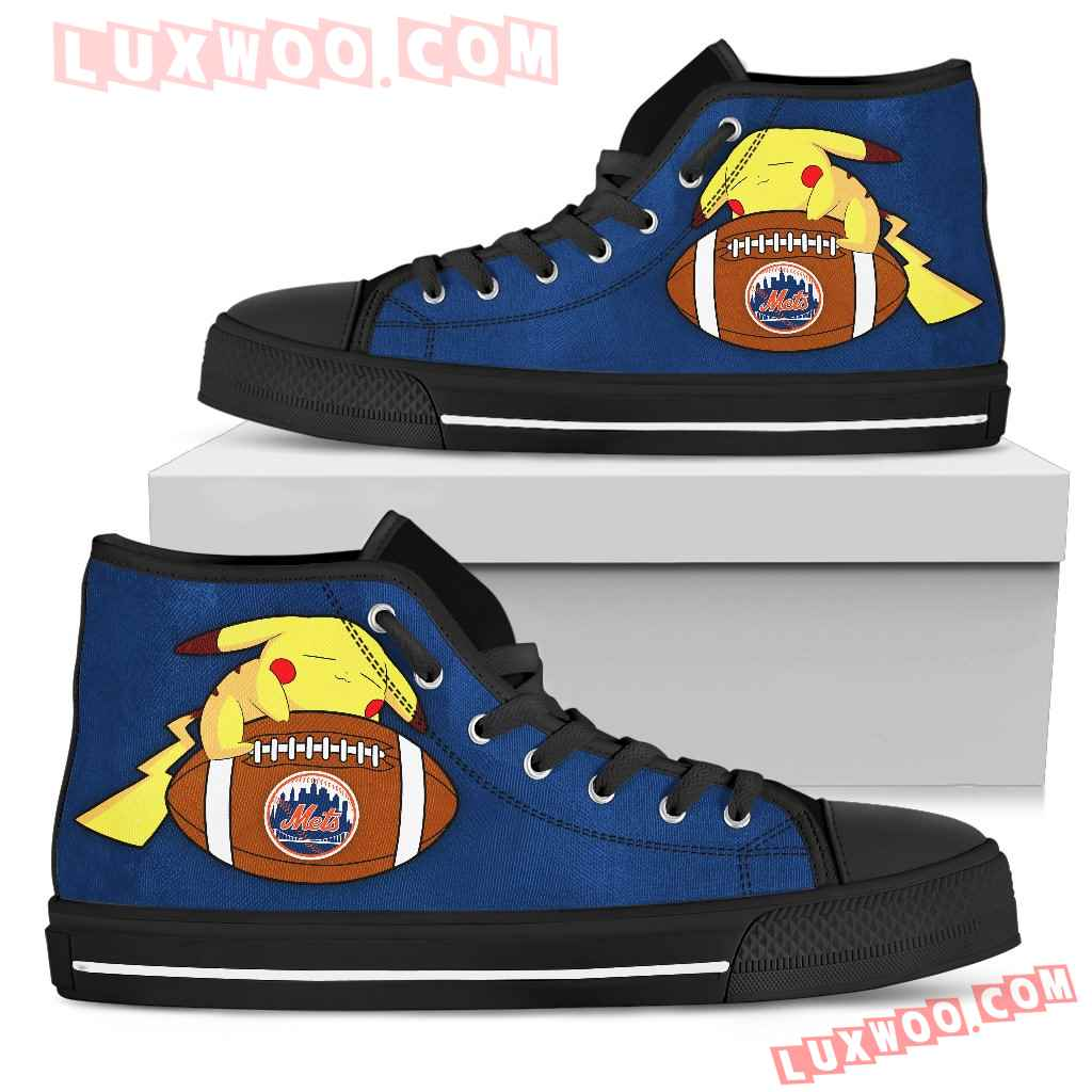 Cool Pikachu Laying On Ball New York Mets High Top Shoes