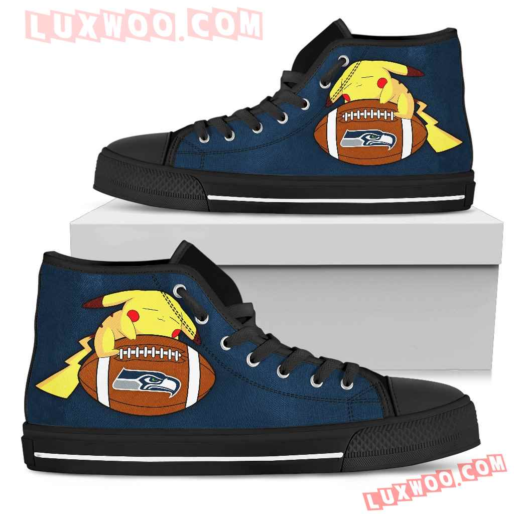 Cool Pikachu Laying On Ball Seattle Seahawks High Top Shoes