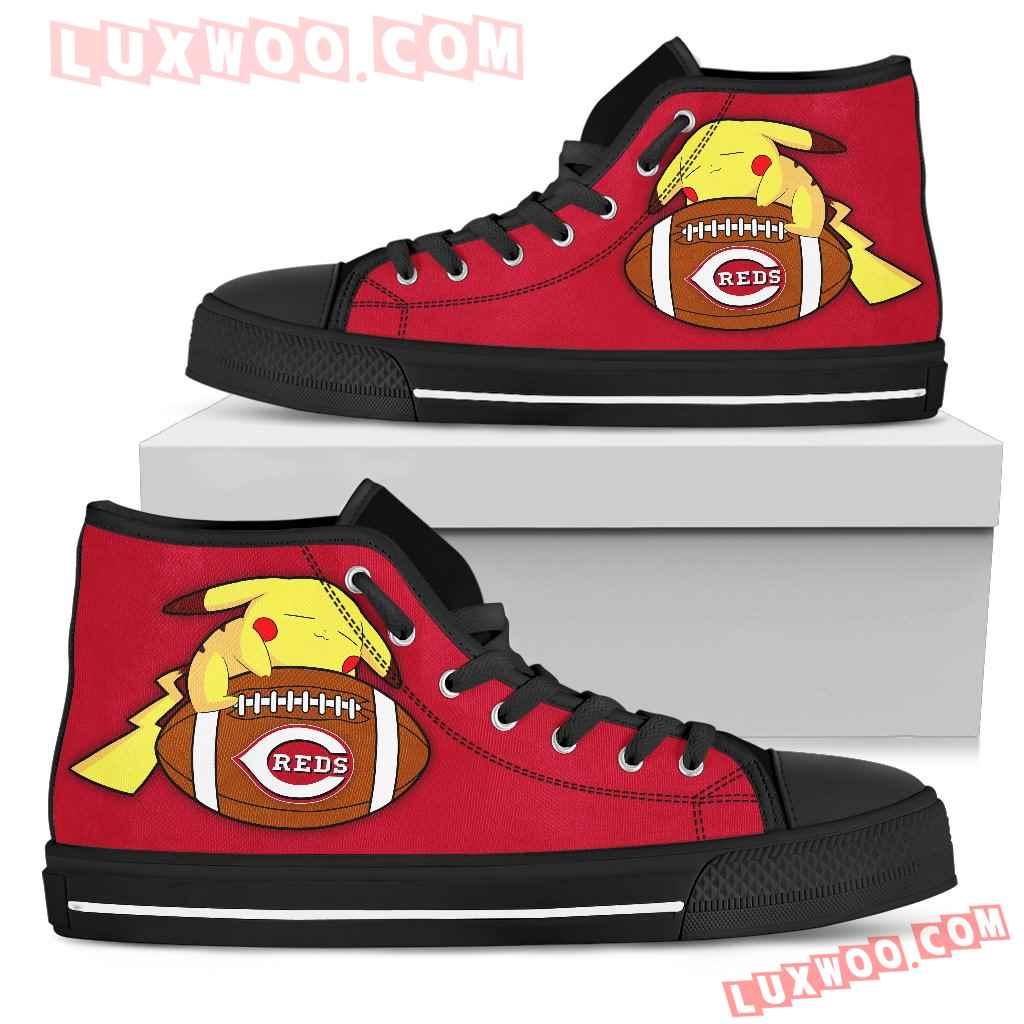 Cute Pikachu Laying On Ball Cincinnati Reds High Top Shoes