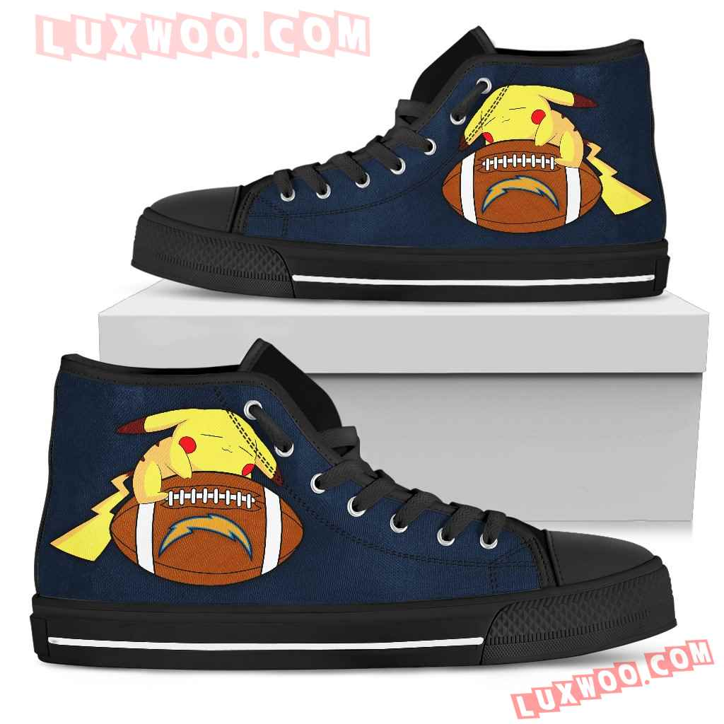 Cute Pikachu Laying On Ball Los Angeles Chargers High Top Shoes