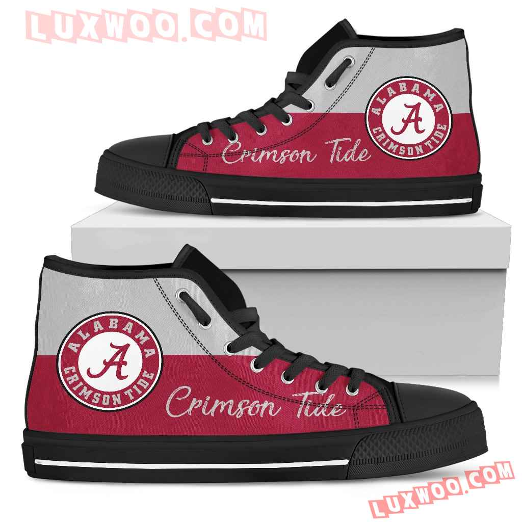 Divided Colours Stunning Logo Alabama Crimson Tide High Top Shoes