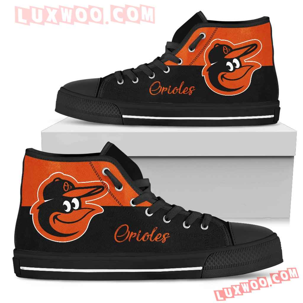 Divided Colours Stunning Logo Baltimore Orioles High Top Shoes