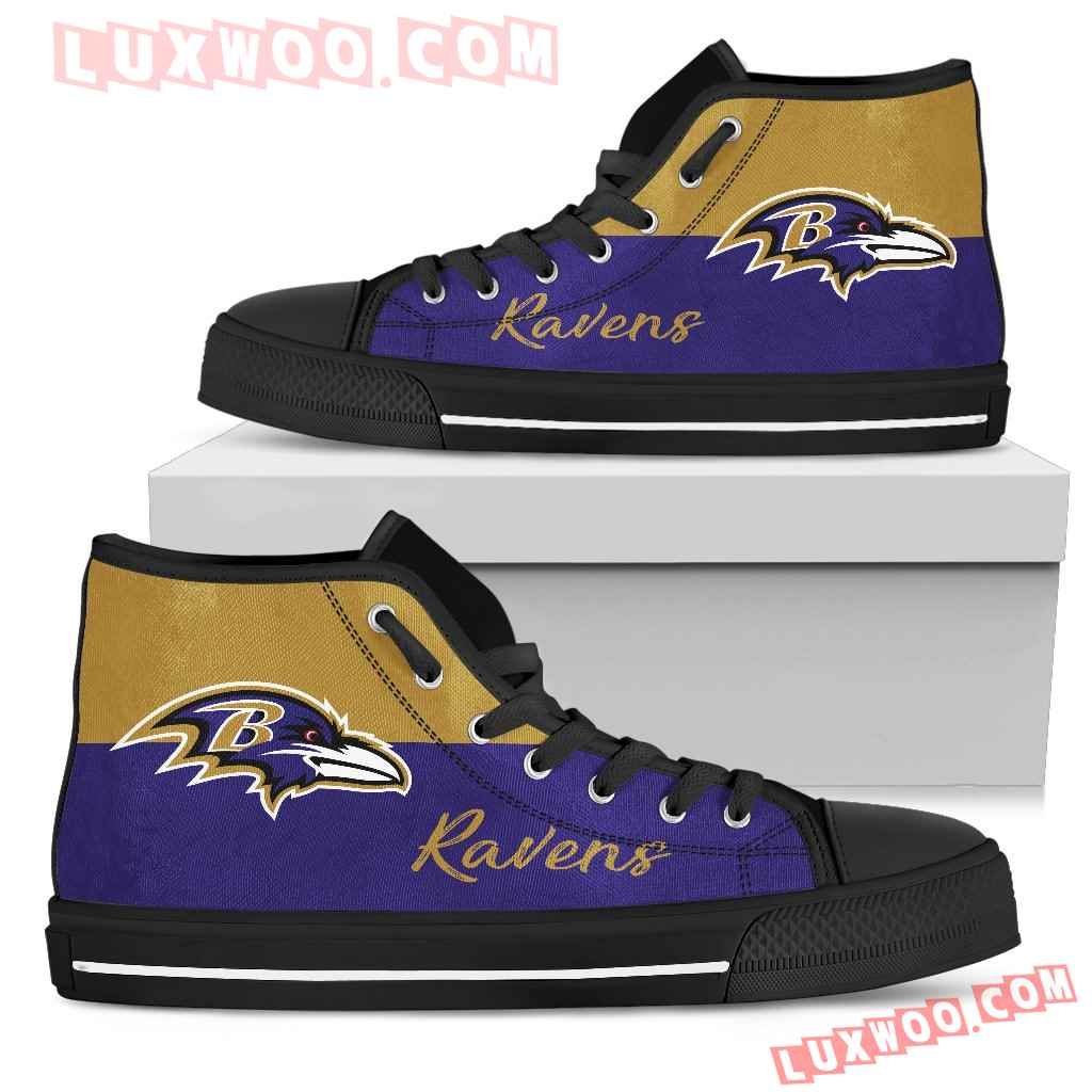 Divided Colours Stunning Logo Baltimore Ravens High Top Shoes