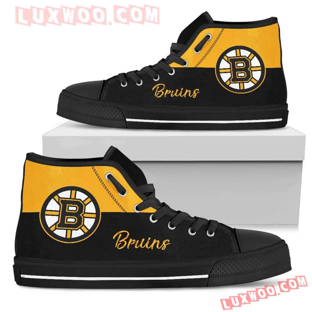 Divided Colours Stunning Logo Boston Bruins High Top Shoes