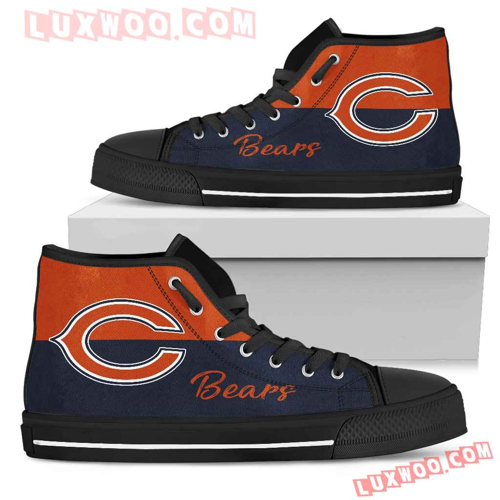 Divided Colours Stunning Logo Chicago Bears High Top Shoes