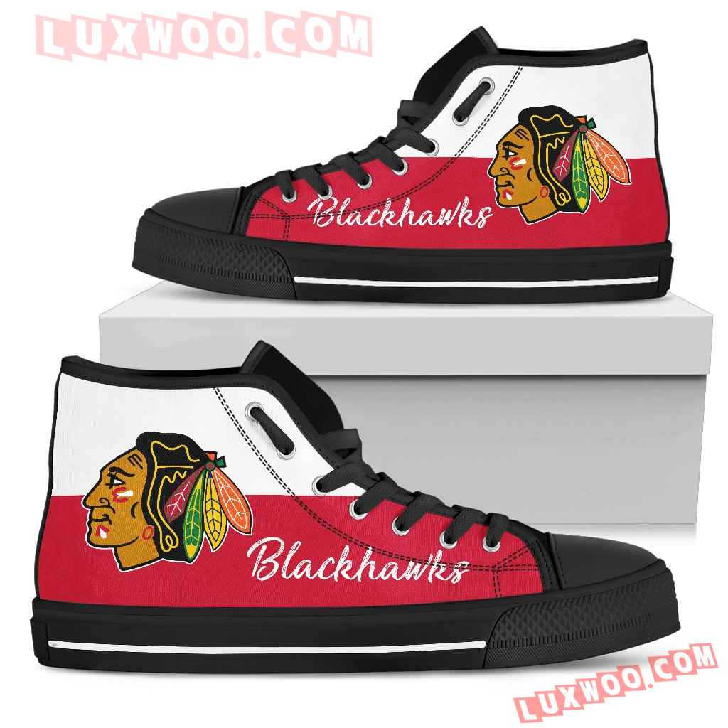Divided Colours Stunning Logo Chicago Blackhawks High Top Shoes