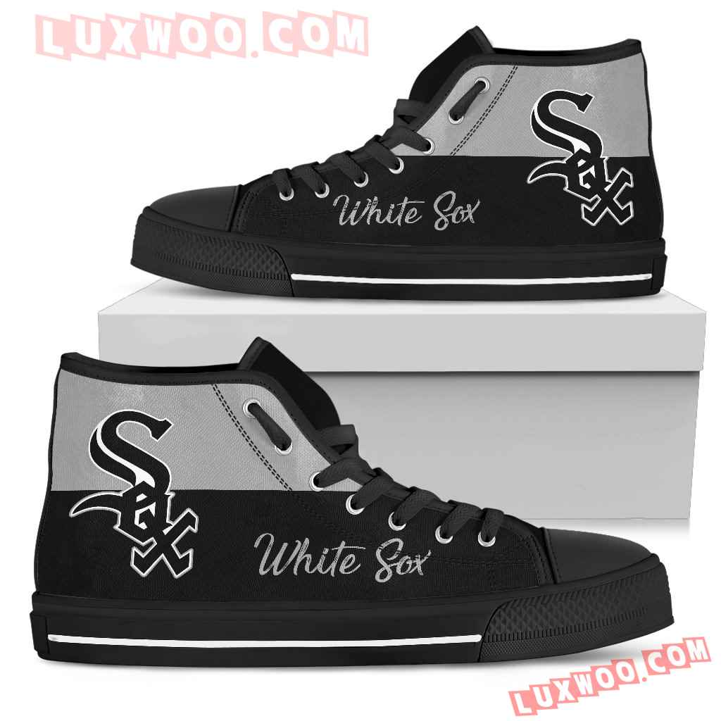 Divided Colours Stunning Logo Chicago White Sox High Top Shoes
