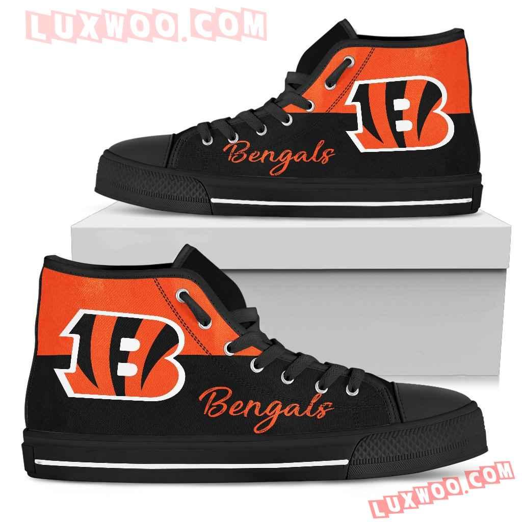 Divided Colours Stunning Logo Cincinnati Bengals High Top Shoes