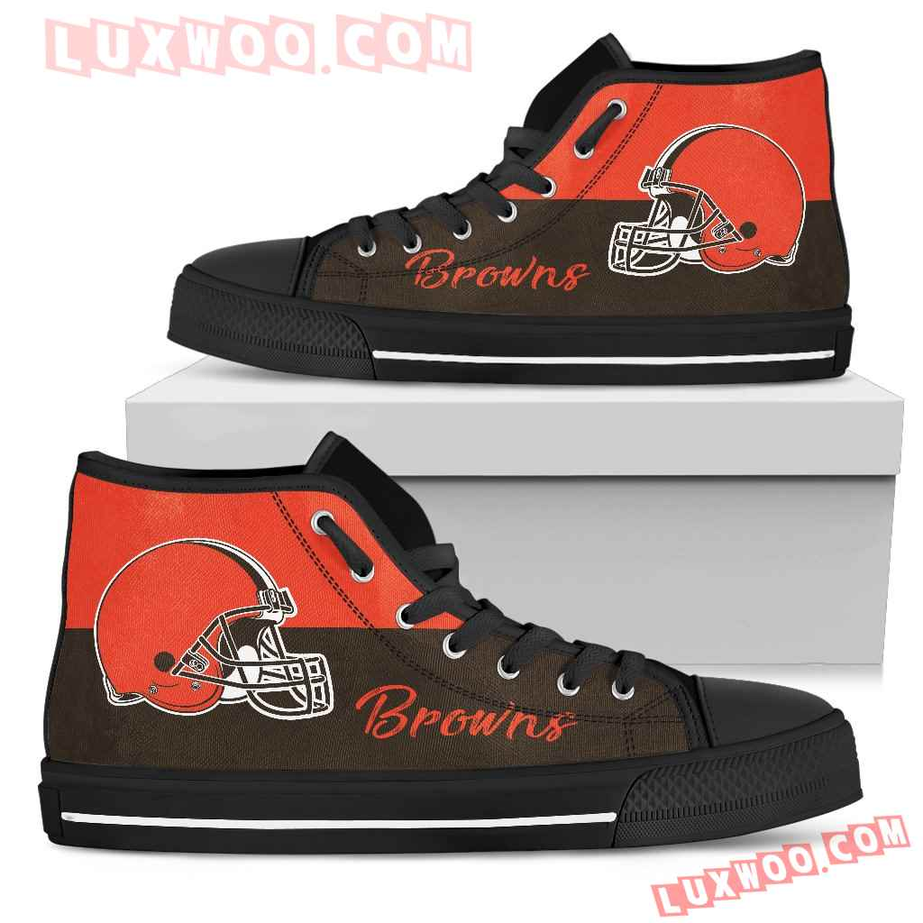 Divided Colours Stunning Logo Cleveland Browns High Top Shoes