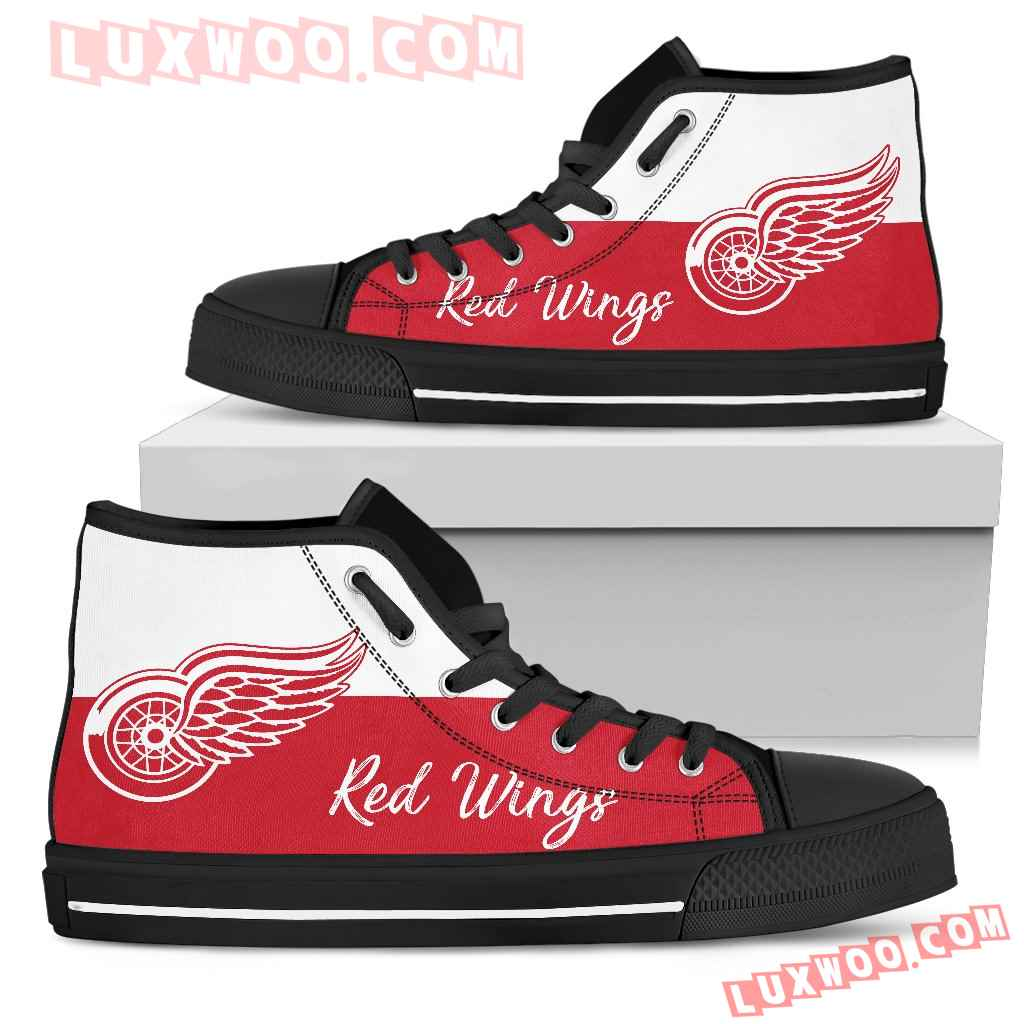 Divided Colours Stunning Logo Detroit Red Wings High Top Shoes