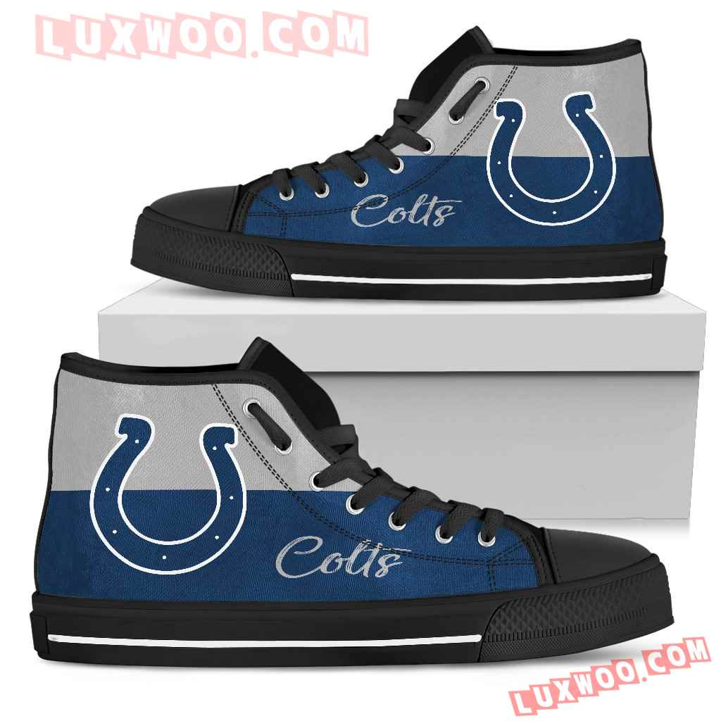 Divided Colours Stunning Logo Indianapolis Colts High Top Shoes