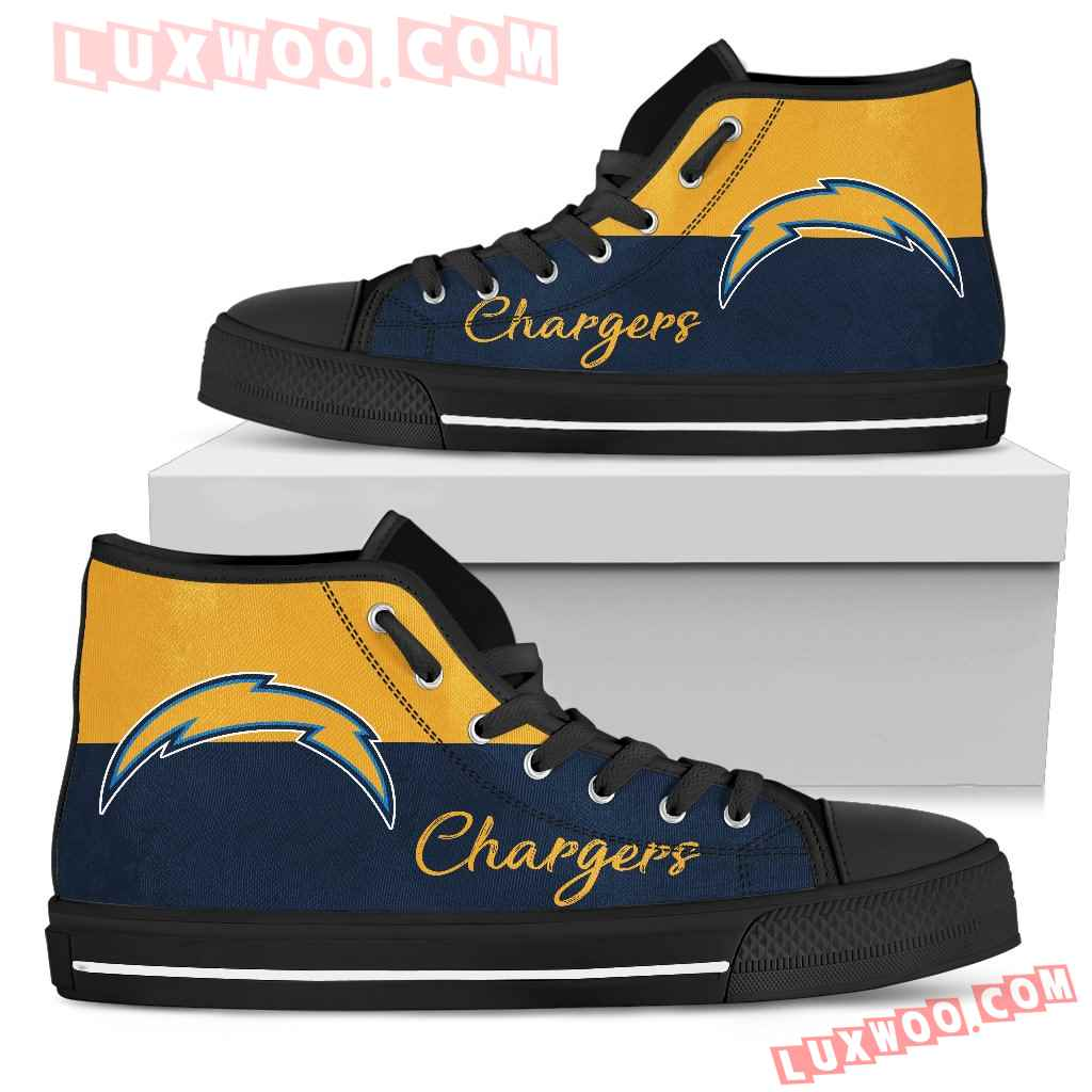 Divided Colours Stunning Logo Los Angeles Chargers High Top Shoes