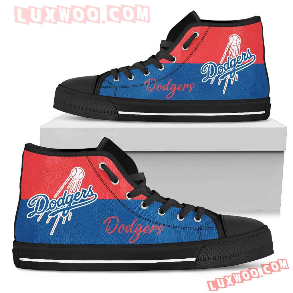Divided Colours Stunning Logo Los Angeles Dodgers High Top Shoes