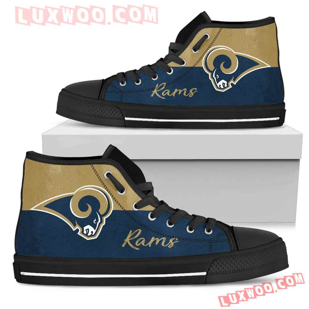 Divided Colours Stunning Logo Los Angeles Rams High Top Shoes