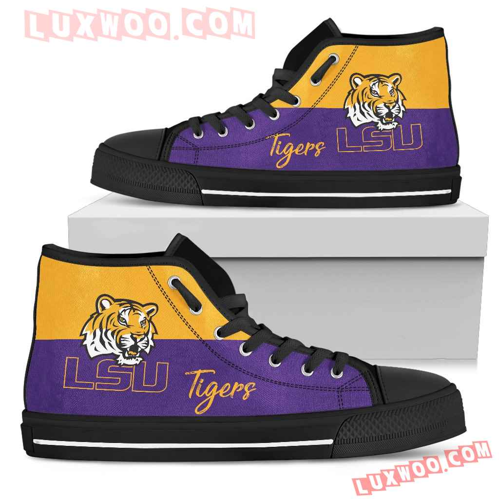 Divided Colours Stunning Logo Lsu Tigers High Top Shoes
