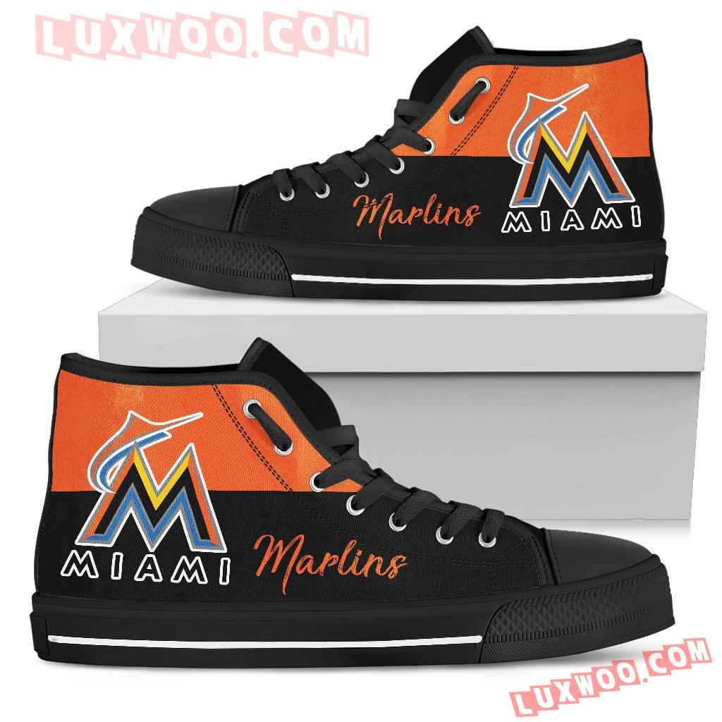 Divided Colours Stunning Logo Miami Marlins High Top Shoes