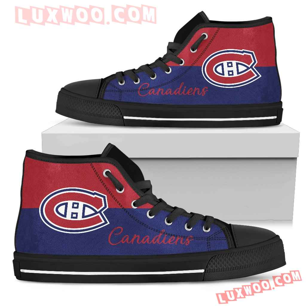 Divided Colours Stunning Logo Montreal Canadiens High Top Shoes