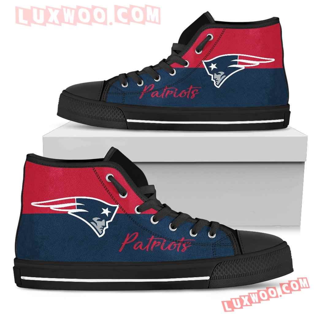 Divided Colours Stunning Logo New England Patriots High Top Shoes