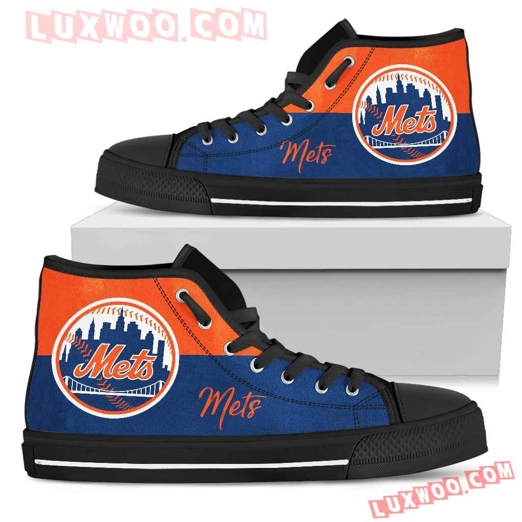 Divided Colours Stunning Logo New York Mets High Top Shoes