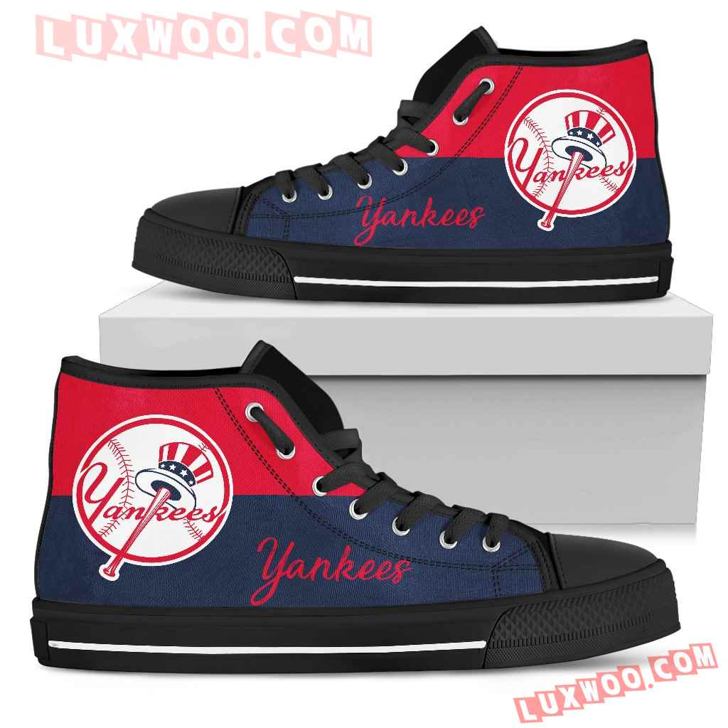 Divided Colours Stunning Logo New York Yankees High Top Shoes